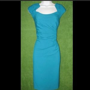 Calvin Klein Cap Sleeve Side Ruched Sheath Dress